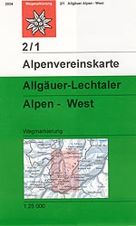 OeAV - Alpenvereinskarte 2/1 Allgäuer - Lechtaler Alpen West (Weg)